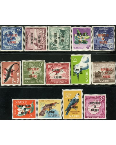 Nauru 1968 SG80-93 Birds Flowers Scene Lizard Industry ovpt set MNH