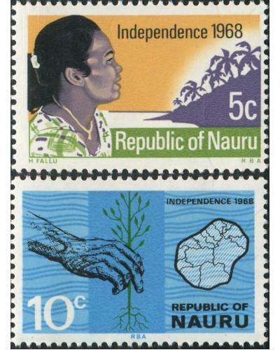 Nauru 1968 SG94-95 Independence set MNH