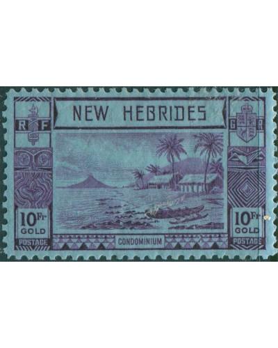 New Hebrides 1938 SG63 10f violet/blue Islands Canoes MH