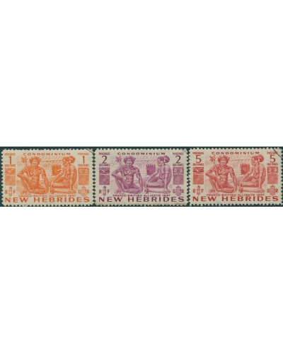 New Hebrides 1953 SG76-78 Natives high values FU