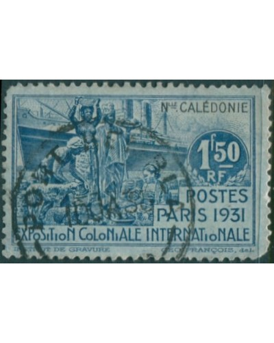 New Caledonia 1931 SG182 1f.50 blue and black Colonial Exhibition FU