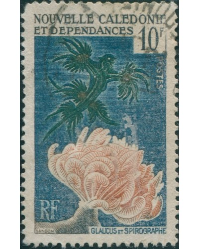 New Caledonia 1959 SG349 10f Sea Lizard and Coral FU