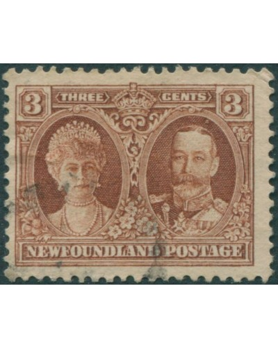 Newfoundland 1929 SG181 3c red-brown Queen Mary and KGV FU