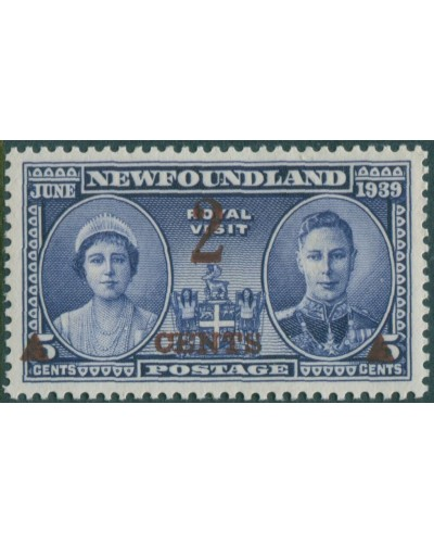 Newfoundland 1939 SG273 2c on 5c deep ultramarine Queen Elizabeth and KGVI MNH