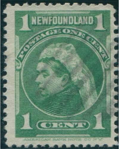 Newfoundland 1897 SG85a 1c yellow-green QV FU