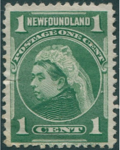 Newfoundland 1897 SG85a 1c yellow-green QV small crease MLH