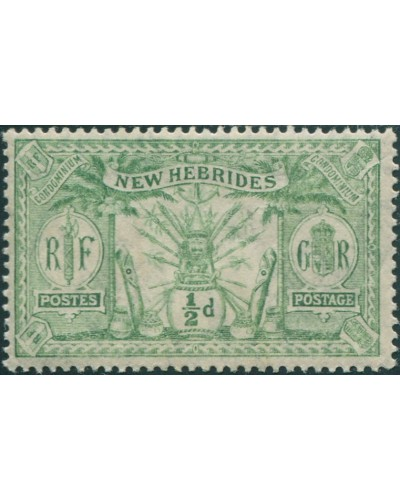 New Hebrides 1911 SG18 ½d green Weapons Idols MNH