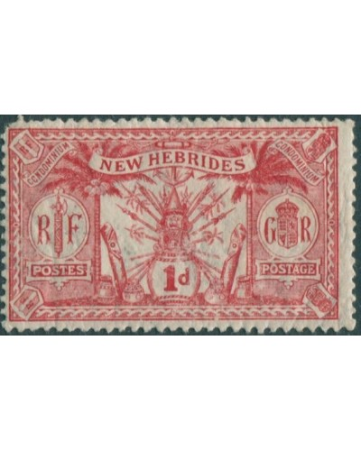 New Hebrides 1911 SG19 1d red Weapons Idols MH