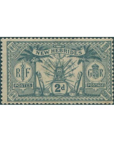 New Hebrides 1911 SG20 2d grey Weapons Idols MH