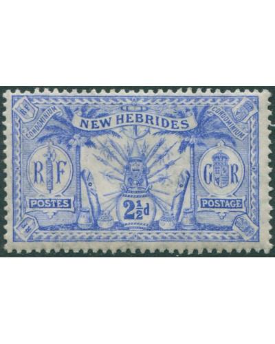 New Hebrides 1911 SG21 2½d ultramarine Weapons Idols MLH