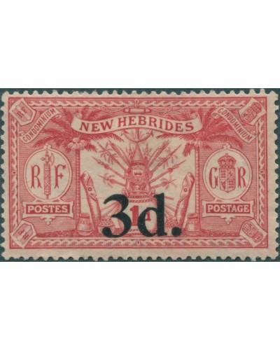 New Hebrides 1924 SG41 3d on 1d scarlet Weapons Idols MH