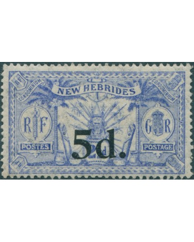New Hebrides 1924 SG42 5d on 2½d blue Weapons Idols MH