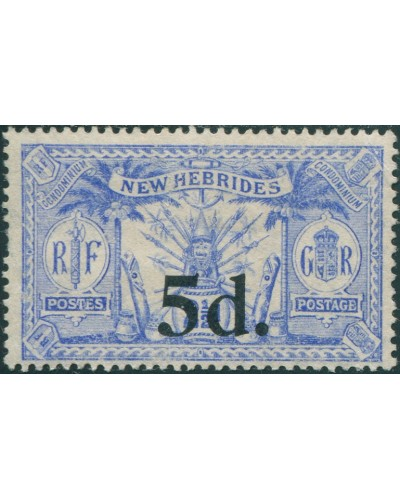 New Hebrides 1920 SG42 5d on 2½d blue Weapons Idols MNG