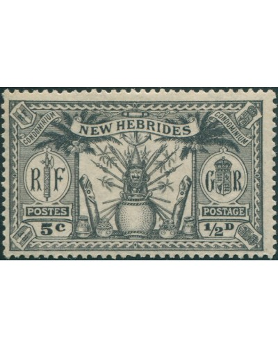 New Hebrides 1925 SG43 ½d 5c black Weapons Idols MLH