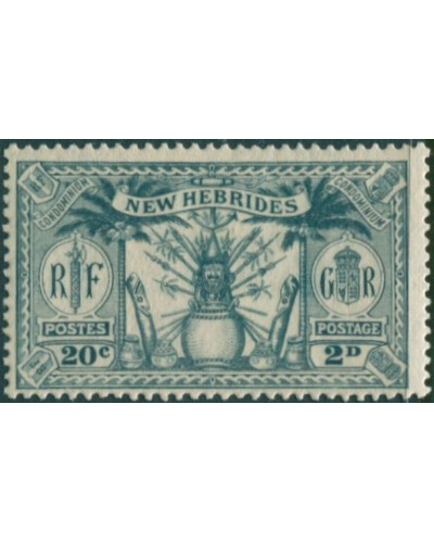 New Hebrides 1925 SG45 2d 20c grey Weapons Idols MH