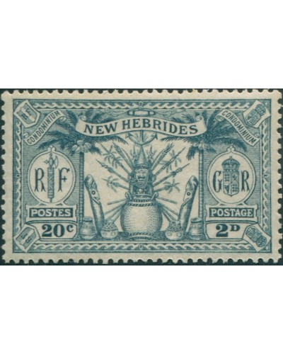 New Hebrides 1925 SG45 2d 20c grey Weapons Idols MLH