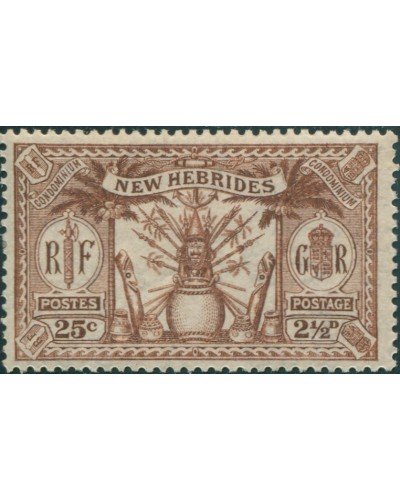 New Hebrides 1925 SG46 2½d 25c brown Weapons Idols MLH