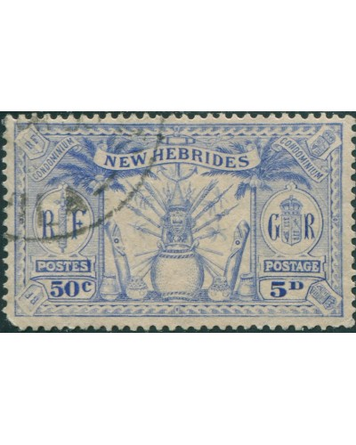 New Hebrides 1925 SG47 5d 50c blue Weapons Idols FU