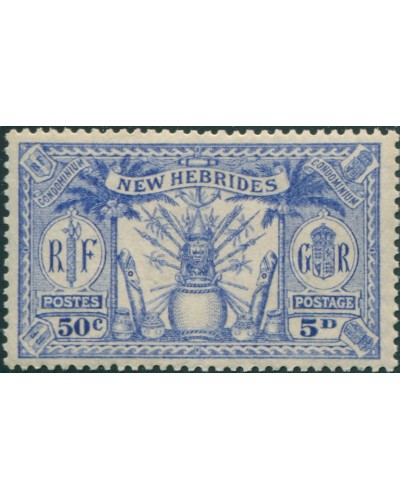 New Hebrides 1925 SG47 5d 50c blue Weapons Idols MLH