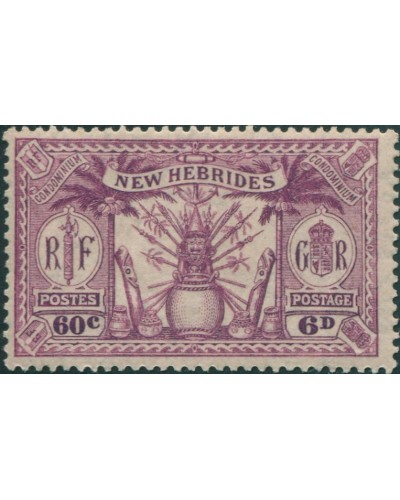 New Hebrides 1925 SG48 6d 60c purple Weapons Idols MLH