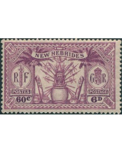New Hebrides 1925 SG48 6d 60c purple Weapons Idols MLH