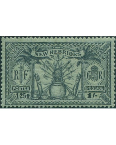 New Hebrides 1925 SG49 1s 1f.25 black on green Weapons Idols MLH