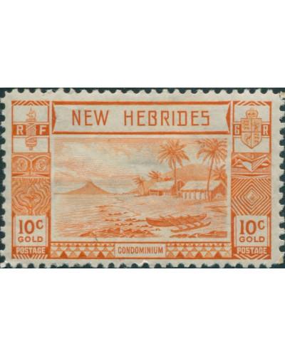 New Hebrides 1938 SG53 10c Orange Islands Canoes MLH
