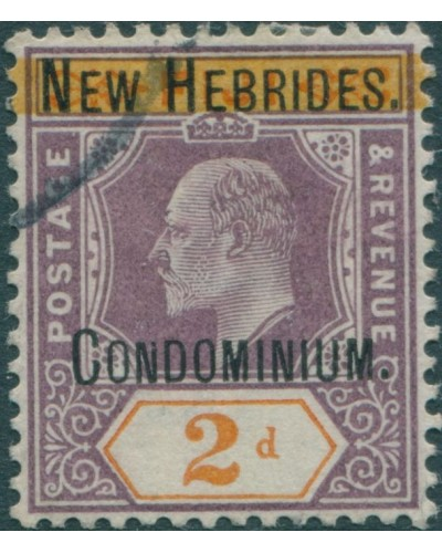 New Hebrides 1908 SG5 2d dull purple and orange KEVII FU
