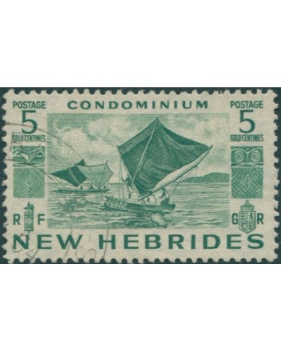 New Hebrides 1953 SG68 5c green Outrigger Canoes FU