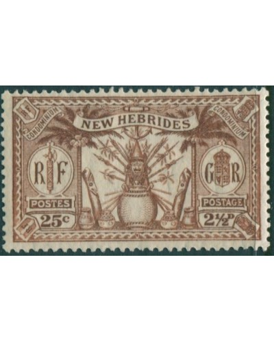 New Hebrides 1925 SG46 2½d 25c brown Weapons Idols MH