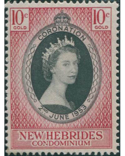 New Hebrides 1953 SG79 10c Coronation QEII MLH
