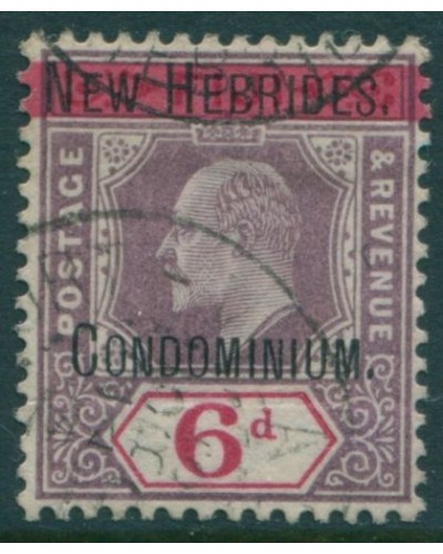 New Hebrides 1908 SG8 6d dull purple and carmine KEVII FU