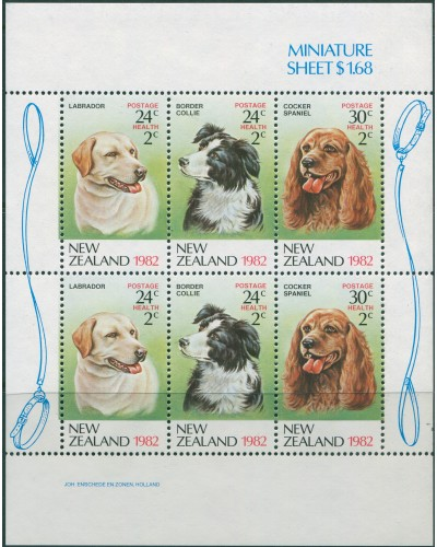 New Zealand 1982 SG1273 Health Dogs MS MNH