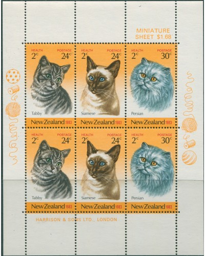 New Zealand 1983 SG1323 Health Cats MS MNH