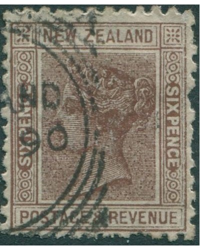 New Zealand 1882 SG243 6d brown QV FU