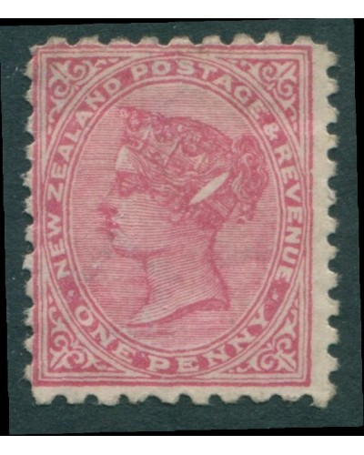 New Zealand 1895 SG228c 1d rose QV ellipse flaw MLH