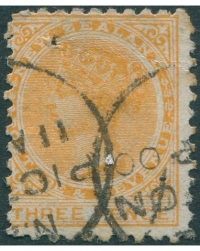New Zealand 1882 SG240 3d yellow QV FU