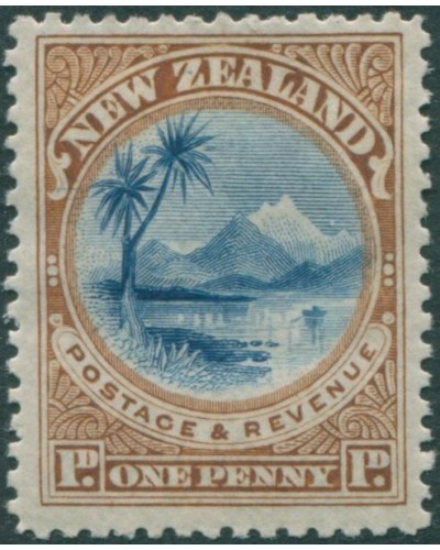 New Zealand 1898 SG247 1d blue and yellow-brown Lake Taupo MLH