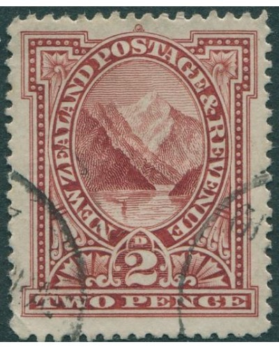 New Zealand 1898 SG248 2d red Pembroke Peak FU