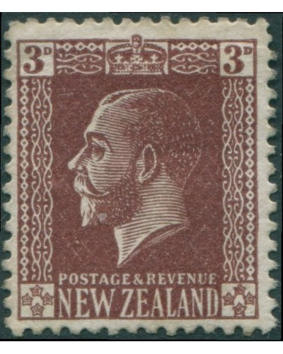 New Zealand 1915 SG449 3d chocolate KGV MLH