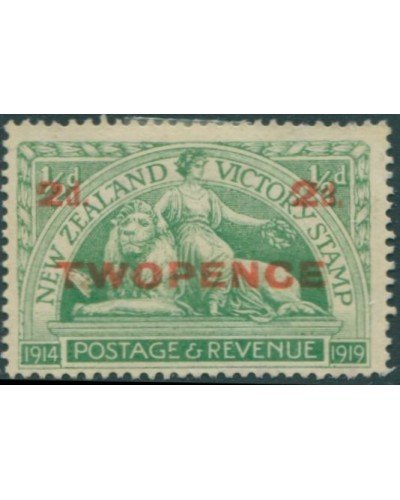 New Zealand 1922 SG459 2d on ½d green Victory MNH