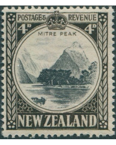 New Zealand 1935 SG562 4d black and sepia Mitre Peak MLH