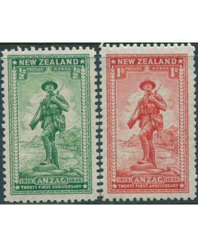 New Zealand 1936 SG591-592 Soldier at Anzac Cove set MNH