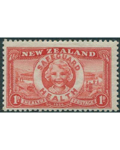 New Zealand 1936 SG598 1d + 1d scarlet Health Camp MLH
