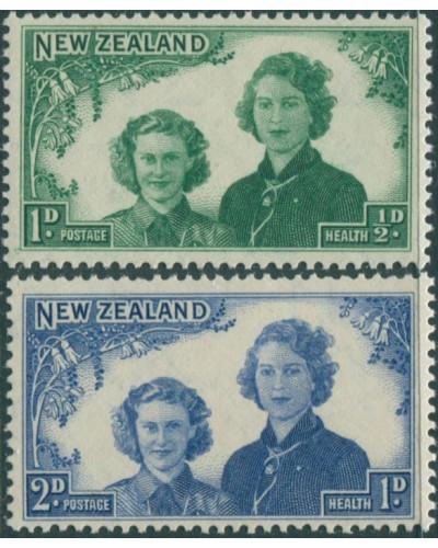 New Zealand 1944 SG663-664 Princesses Elizabeth and Margaret set MNH