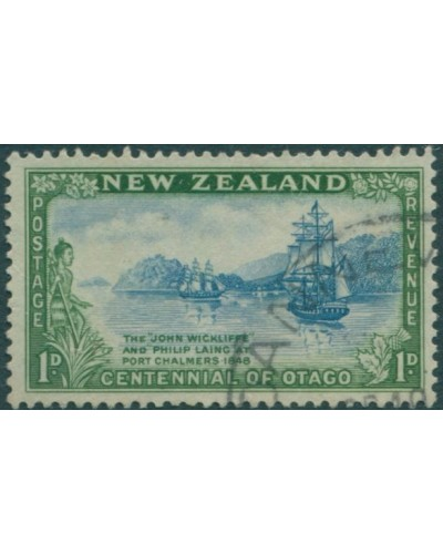 New Zealand 1948 SG692 1d blue and green Otago FU
