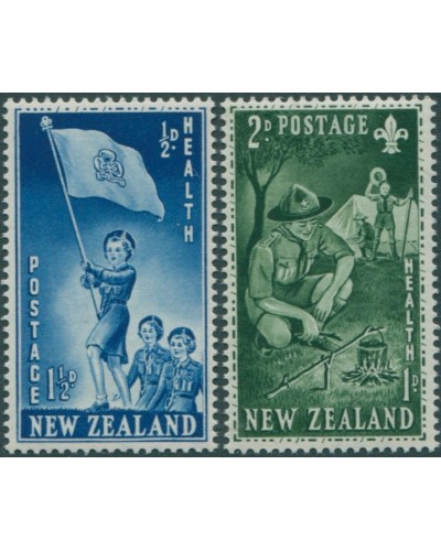 New Zealand 1953 SG719-720 Girl Guides and Boy Scouts set MNH