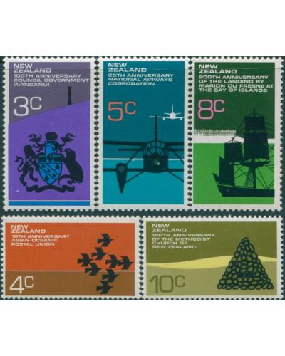 New Zealand 1972 SG978-982 Anniversaries set MLH