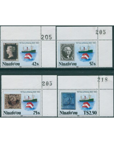 Niuafo'ou 1990 SG139-142 150 Years of Stamps corner set with sheet numbers MNH