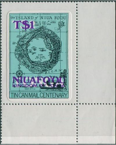 Niuafo'ou 1983 SG15a T$1 Map deep mauve surcharge corner MNH